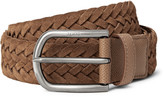 Tod's - 3.5cm Brown Woven Suede And Textured-leather Belt