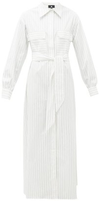 SU PARIS Jad Belted Cotton-poplin Maxi Shirt Dress - White Stripe