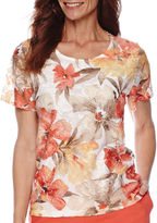 Alfred Dunner Feels Like Spring Short-Sleeve Lace Print Top
