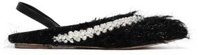 Simone Rocha Embellished Faux Shearling Slingback Point-toe Flats