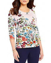 Investments Essentials Flower Printed 3/4 Sleeve Top