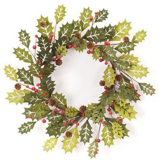 "Melrose International Holly Wreath 21""D MDF"
