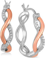 Macy's Diamond Two-Tone Twisted Hoop Earrings (1/8 ct. t.w.) in Sterling Silver and 10k Rose Gold