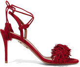 Aquazzura Wild Thing Fringed Suede Sandals - Red