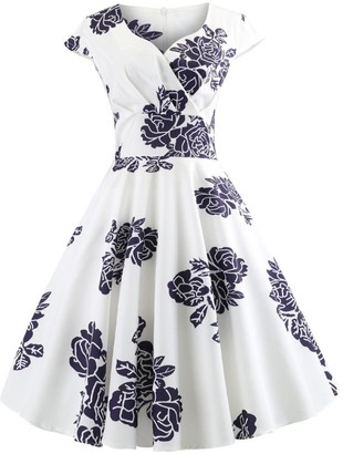 Lazzboy Women Vintage Sleeveless Printing V Neck Evening Party Prom Swing Dress(XL