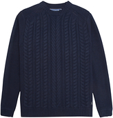 Joules Hearth Cable Knit Jumper, Navy