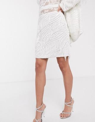 ASOS EDITION beaded fringe mini skirt