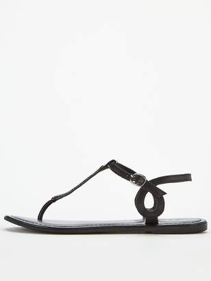 Very Harmony Leather Embellished Toe Post Sandals - Black