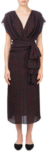 Magda Butrym Diablo V-Neck Cap-Sleeve Polka-Dot Silk Wrap Dress
