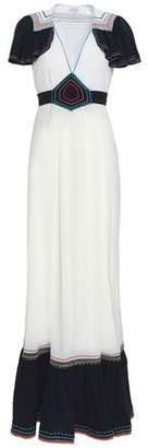 Talitha Collection Fluted Embroidered Cotton-gauze Maxi Dress