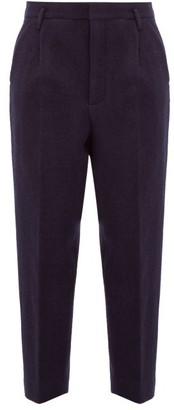 Raey Exaggerated Tapered-leg Boiled Wool Trousers - Navy