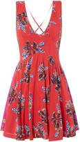 Free People Floral Print Floaty Dress With Contrast Panel