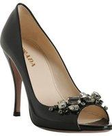 black patent crystal studded peep-toe pumps