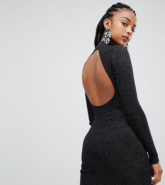 Bershka open back high neck dress-Black