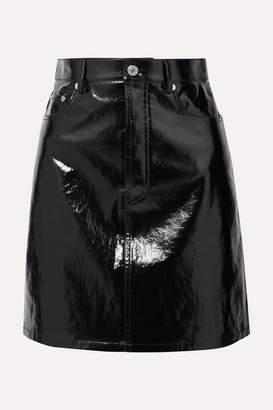 Helmut Lang Crinkled Patent-leather Mini Skirt - Black