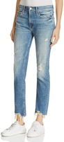 Mother Flirt Fray Rigid Jeans in Cold Feet