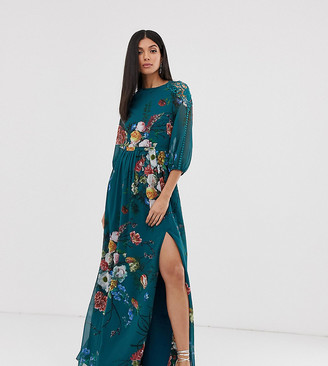 Little Mistress Tall 3/4 sleeve floral chiffon maxi dress