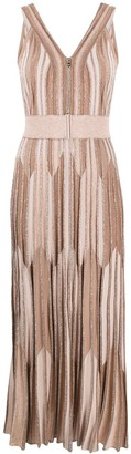 D-Exterior Metallic Knitted Long Dress