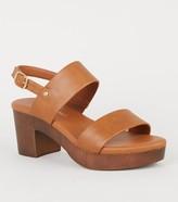 Leather Look Wood Platform Block Heels