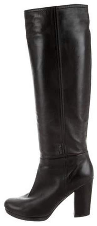 Prada Leather Round-Toe Mid-Calf Boots Black Leather Round-Toe Mid-Calf Boots