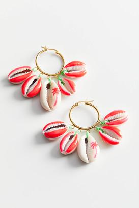 Venessa Arizaga Palm Tree Mini Shell Charm Hoop Earring