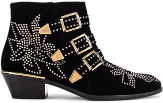 Chloé Susanna Velvet Ankle Boots in Black | FWRD
