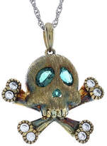 Fine Jewelry Simulated Emerald and Lab-Created White Sapphire Skull and Crossbones Pendant Necklace No Color Family