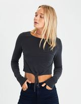 American Eagle Outfitters AE Soft & Sexy Tie-Front Crop T-Shirt