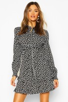boohoo Woven Polka Dot Double Ruffle Hem Shift Dress