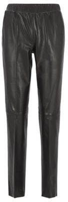HUGO BOSS Leather Pants With Tapered Leg - Black