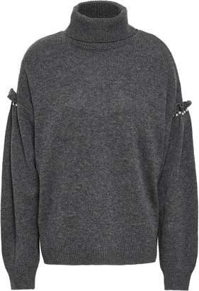 Joie Ruffle-trimmed Embellished Knitted Turtleneck Sweater