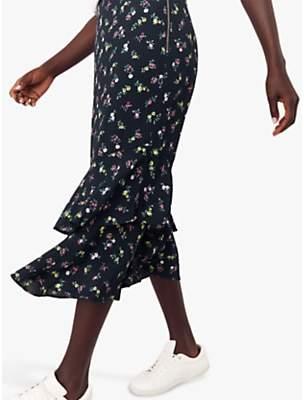 Oasis Ditsy Floral Print Midi Skirt, Blue/Multi