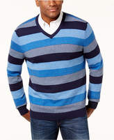 Club Room Men's Striped V-Neck Sweater, Created for Macy's