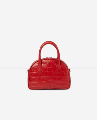 The Kooples Medium red crocodile-print bag Irina
