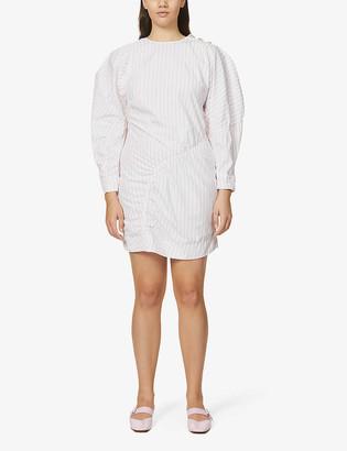 Ganni Striped puff-sleeve organic cotton-poplin mini dress