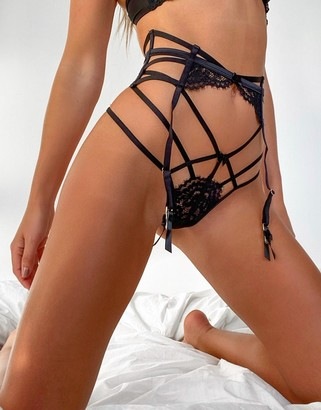 Hunkemoller Eve lace cut out string thong in black