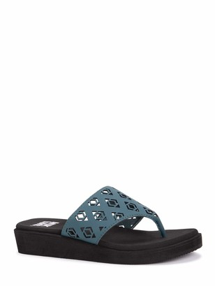 Muk Luks Women's Melanie Wedge Sandal-Teal 8 M US