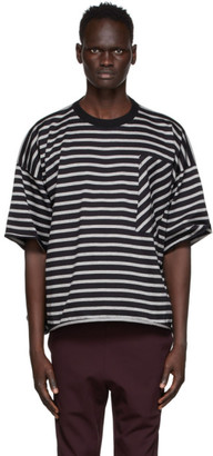 N.Hoolywood Grey and Black Oversized Striped T-Shirt