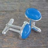 Silver and Blue Chalcedony Cufflinks from India, 'To Dream'