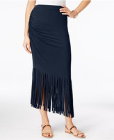 INC International Concepts Petite Asymmetrical Fringe Maxi Skirt, Only at Macy's