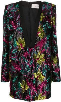 Giuseppe di Morabito Floral Sequin Embroidered Dress
