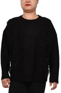 Derek Heart Trendy Plus Size Cable-Knit Crewneck Sweater
