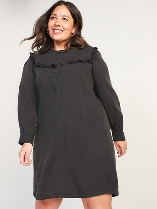 Old Navy Black Chambray Ruffle-Yoke Plus-Size No-Peek Popover Shirt Dress