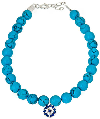 Max & Chloe Signature Charm-Detailed Turquoise-Blue Beaded Evil Eye Bracelet
