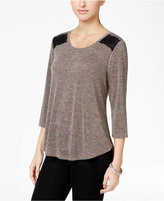 Style&Co. Style & Co. Crochet-Trim High-Low Top, Only at Macy's