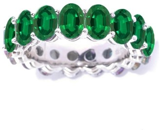 V3 Designs Sterling Silver Oval Green Emerald Eternity Stackable Band Ring
