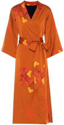 Ellery Bishop floral satin wrap dress