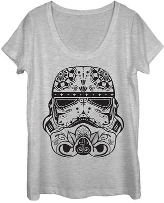 Fifth Sun Women's Tee Shirts ATH - Star Wars Athletic Heather Sugar Skull Trooper Tee - Juniors