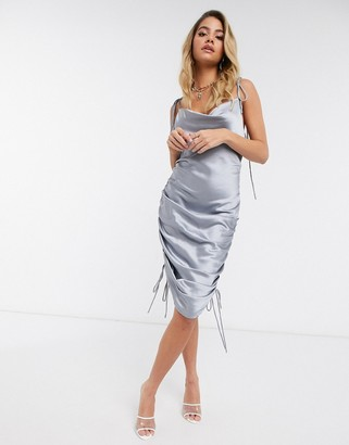 Lioness ruched mini slip dress in silver
