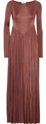 Zimmermann Tempest Empire Gathered Satin-crepe Gown